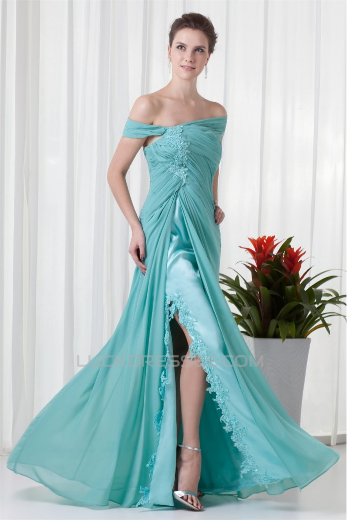 A-Line Beading Chiffon Floor-Length Off-the-Shoulder Prom/Formal Evening Dresses 02020608