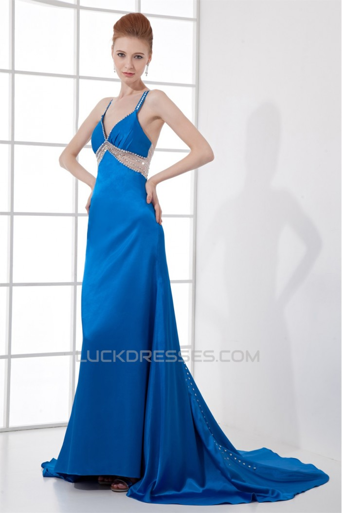 A-Line Beading Elastic Woven Satin Brush Sweep Train Prom/Formal Evening Dresses 02020609