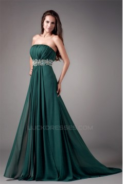 A-Line Beading Strapless Brush Sweep Train Prom/Formal Evening Dresses 02020611