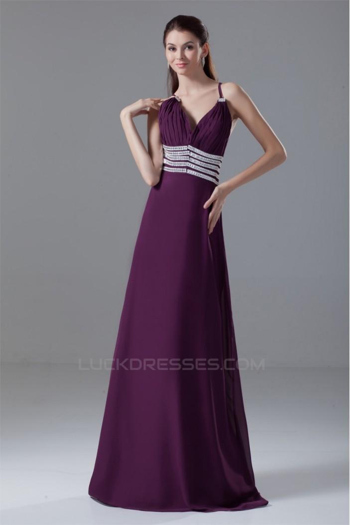 A-Line Chiffon Brush Sweep Train Prom/Formal Evening Dresses 02020612