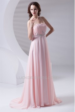 A-Line Strapless Beaded Long Pink Prom Evening Formal Bridesmaid Dresses 02020613