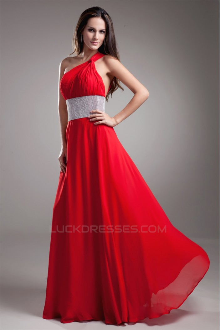 A-Line Floor-Length One-Shoulder Sleeveless Long Red Prom/Formal Evening Dresses 02020619