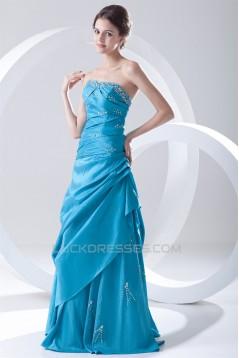 A-Line Floor-Length Pleats Sleeveless Strapless Prom/Formal Evening Dresses 02020620