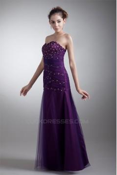 A-Line Floor-Length Ruffles Satin Net Beaded Long Purple Prom/Formal Evening Dresses 02020621