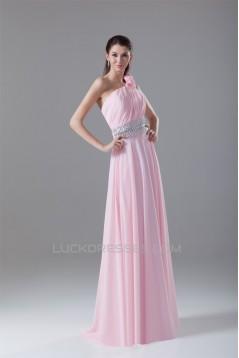 A-Line One-Shoulder Pleats Chiffon Prom/Formal Evening Dresses 02020626