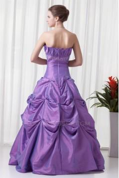 A-Line Sleeveless Taffeta Floor-Length Strapless Prom/Formal Evening Dresses 02020632
