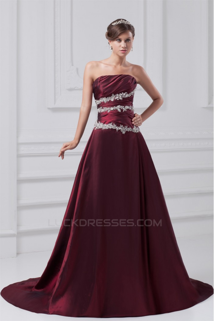 A-Line Strapless Sleeveless Sequins Taffeta Prom/Formal Evening Dresses 02020635
