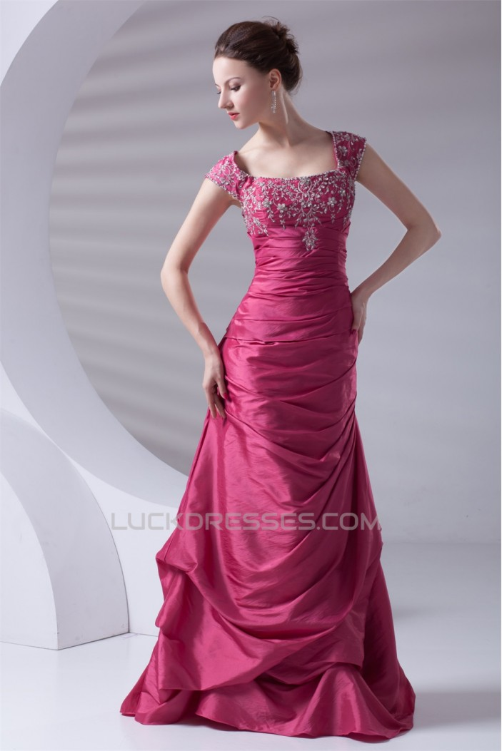 A-Line Taffeta Capped Sleeves Floor-Length Prom/Formal Evening Dresses 02020638