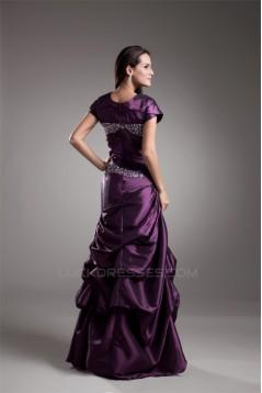 A-Line Taffeta Pleats Floor-Length Short Sleeve Mother of the Bride Dresses 02020639