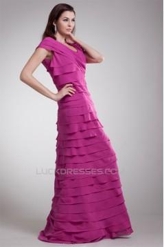 A-Line V-Neck Handmade Flowers Chiffon Prom/Formal Evening Dresses 02020640
