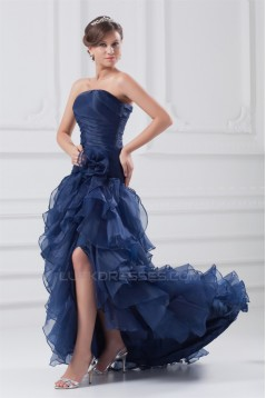 Asymmetrical A-Line Satin Organza Strapless Prom/Formal Evening Dresses 02020645