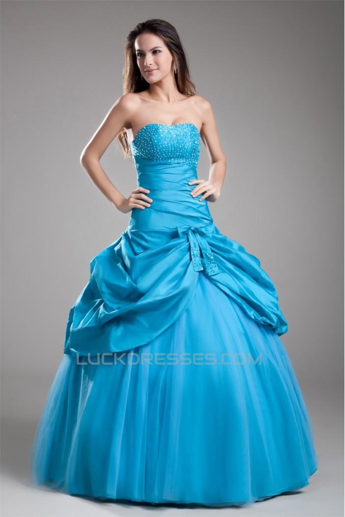 Ball Gown Beading Taffeta Fine Netting Floor-Length Prom/Formal Evening Dresses 02020648