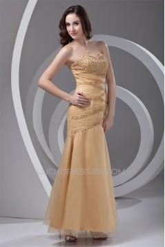 Beading Ankle-Length Satin Netting Sleeveless Prom/Formal Evening Dresses 02020655