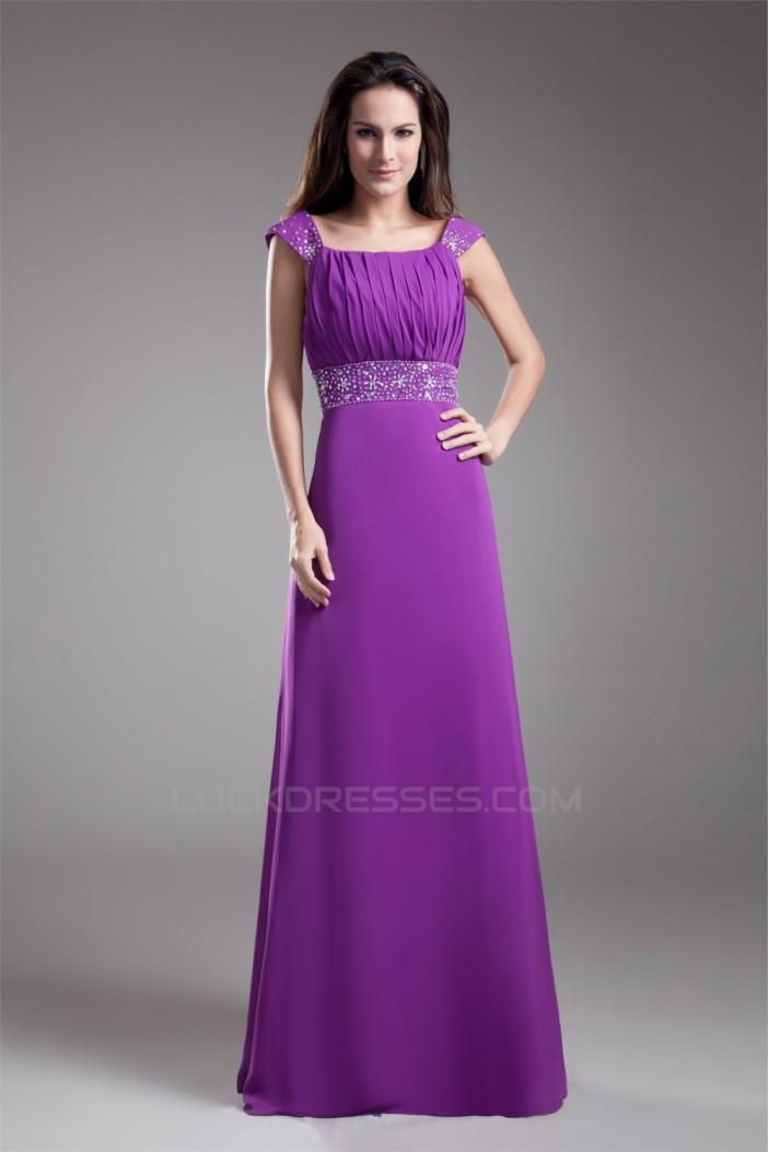 A-Line Beading Floor-Length Chiffon Elastic Woven Satin Prom/Formal Evening Dresses 02020659