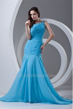 Beading One-Shoulder Sleeveless Chiffon Prom/Formal Evening Dresses 02020668