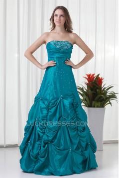 Beading Strapless A-Line Sleeveless Floor-Length Prom/Formal Evening Dresses 02020679