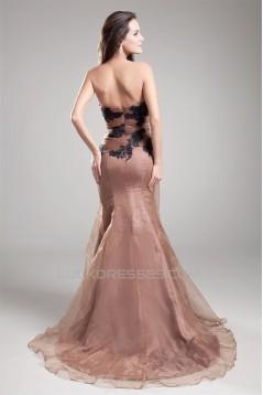 Mermaid/Trumpet Beading Strapless Satin Organza Prom/Formal Evening Dresses 02020680