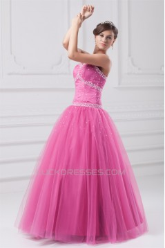 Beading Sweetheart Satin Net Ball Gown Floor-Length Prom/Formal Evening Dresses 02020685