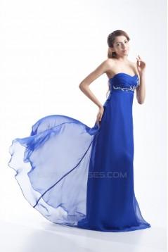 Brush Sweep Train Chiffon Long Blue Prom/Formal Evening Dresses 02020688