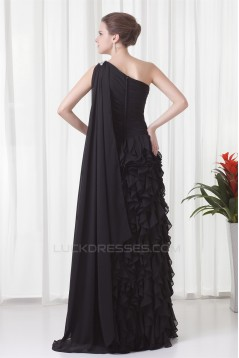 Cascading Ruffles Brush Sweep Train Sheath/Column Prom/Formal Evening Dresses 02020695