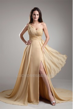 A-Line Beaded One-Shoulder Court Train Prom/Formal Evening Dresses 02020697