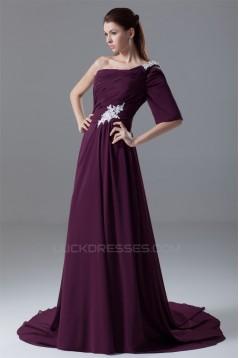 A-Line Single Sleeve Long Purple Prom/Formal Evening Dresses 02020699