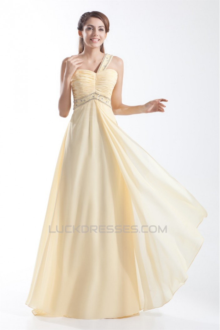 Chiffon Silk like Satin Floor-Length One-Shoulder Prom/Formal Evening Dresses 02020711