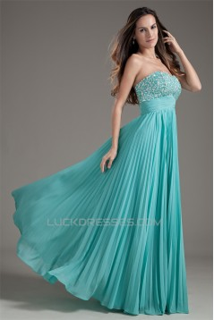 A-Line Beaded Pleated Chiffon Floor-Length Prom/Formal Evening Dresses 02020712