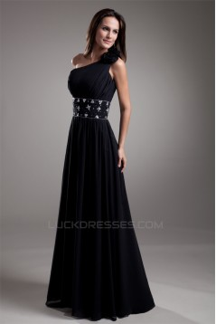 A-Line One-Shoulder Beaded Black Floor-Length Prom/Formal Evening Dresses 02020714