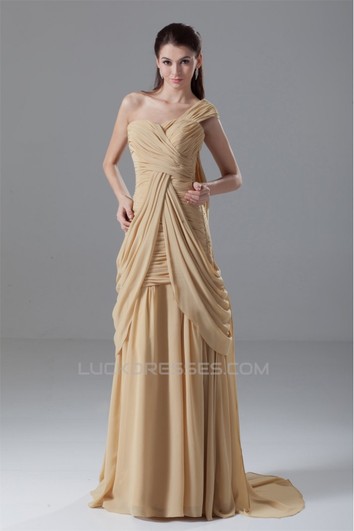 Draped A-Line One-Shoulder Brush Sweep Train Prom/Formal Evening Dresses 02020716