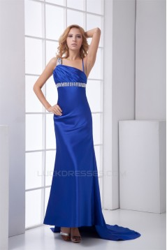 Elastic Woven Satin Beading Asymmetrical Prom/Formal Evening Dresses 02020718