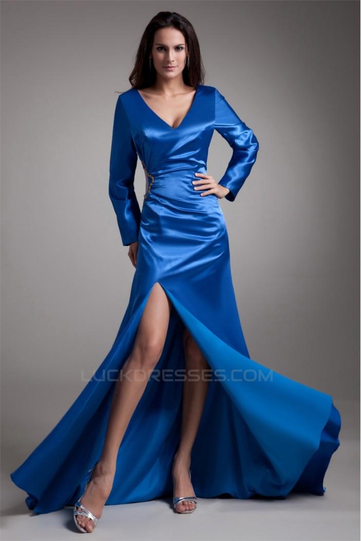Elastic Woven Satin Beading V-Neck A-Line Prom/Formal Evening Dresses 02020719