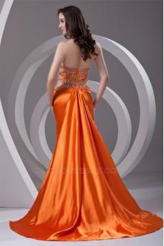 Elastic Woven Satin Halter Beading Sleeveless Prom/Formal Evening Dresses 02020722