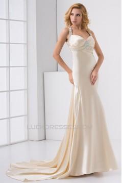 Elastic Woven Satin Sleeveless Halter Sheath/Column Prom/Formal Evening Dresses 02020726