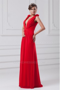Floor-Length Chiffon Long Red Prom/Formal Evening Dresses 02020736