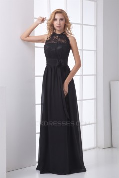 Elegant Floor-Length Chiffon Lace Long Black Prom/Formal Evening Bridesmaid Dresses 02020738