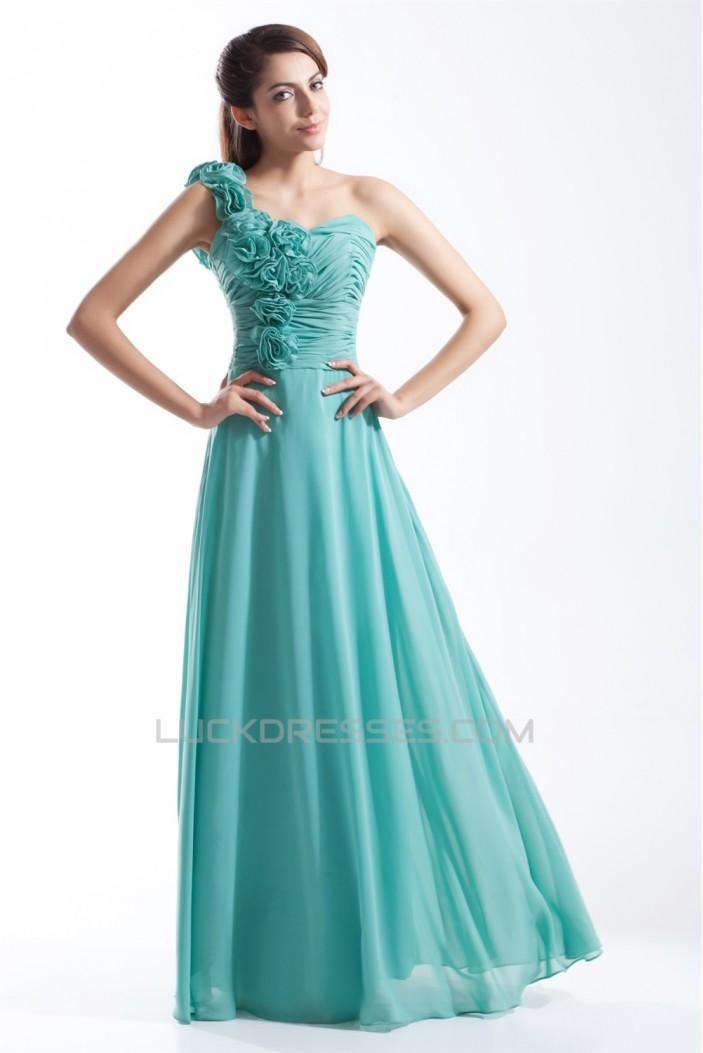 A-Line One-Shoulder Floor-Length Chiffon Prom/Formal Evening Bridesmaid Dresses 02020741