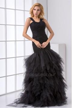 Floor-Length Elastic Woven Satin Fine Netting Prom/Formal Evening Dresses 02020743