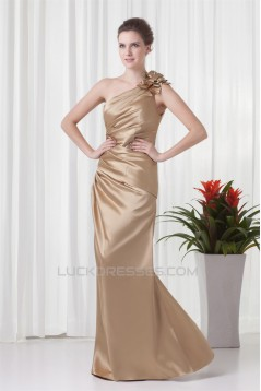 Floor-Length Elastic Woven Satin One-Shoulder Prom/Formal Evening Bridesmaid Dresses 02020744
