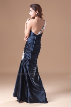 Floor-Length One-Shoulder Elastic Woven Satin Prom/Formal Evening Dresses 02020746