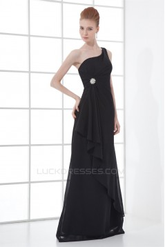 Floor-Length Pleats Sheath/Column One-Shoulder Long Bridesmaid Dresses 02020747