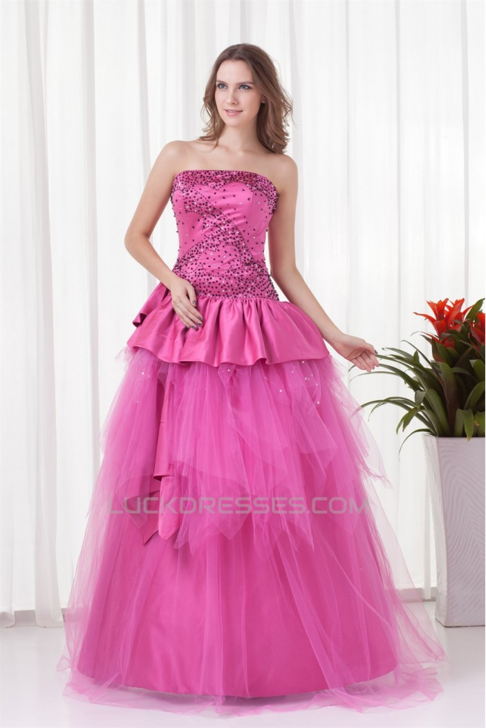 Floor-Length Satin Netting Sleeveless Beading Prom/Formal Evening Dresses 02020750