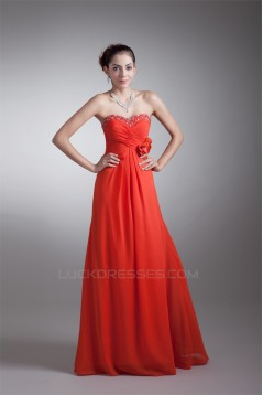 Floor-Length Sheath/Column Chiffon Handmade Flowers Prom/Formal Evening Dresses 02020752