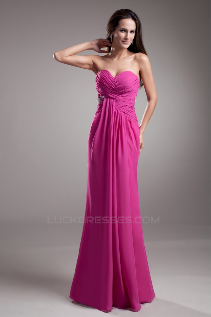 Floor-Length Sleeveless Chiffon Silk like Satin Prom/Formal Evening Dresses 02020757
