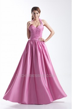 A-Line Halter Floor-Length Beading Satin Prom/Formal Evening Dresses 02020765