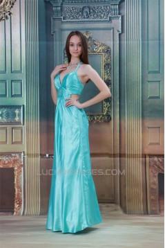 Halter Sheath/Column Elastic Woven Satin Prom/Formal Evening Dresses 02020766