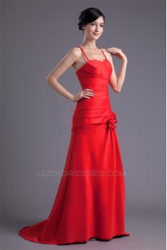 Handmade Flowers Brush Sweep Train Sweetheart Prom/Formal Evening Dresses 02020768