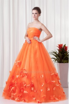Handmade Flowers Floor-Length Satin Netting Prom/Formal Evening Dresses 02020769