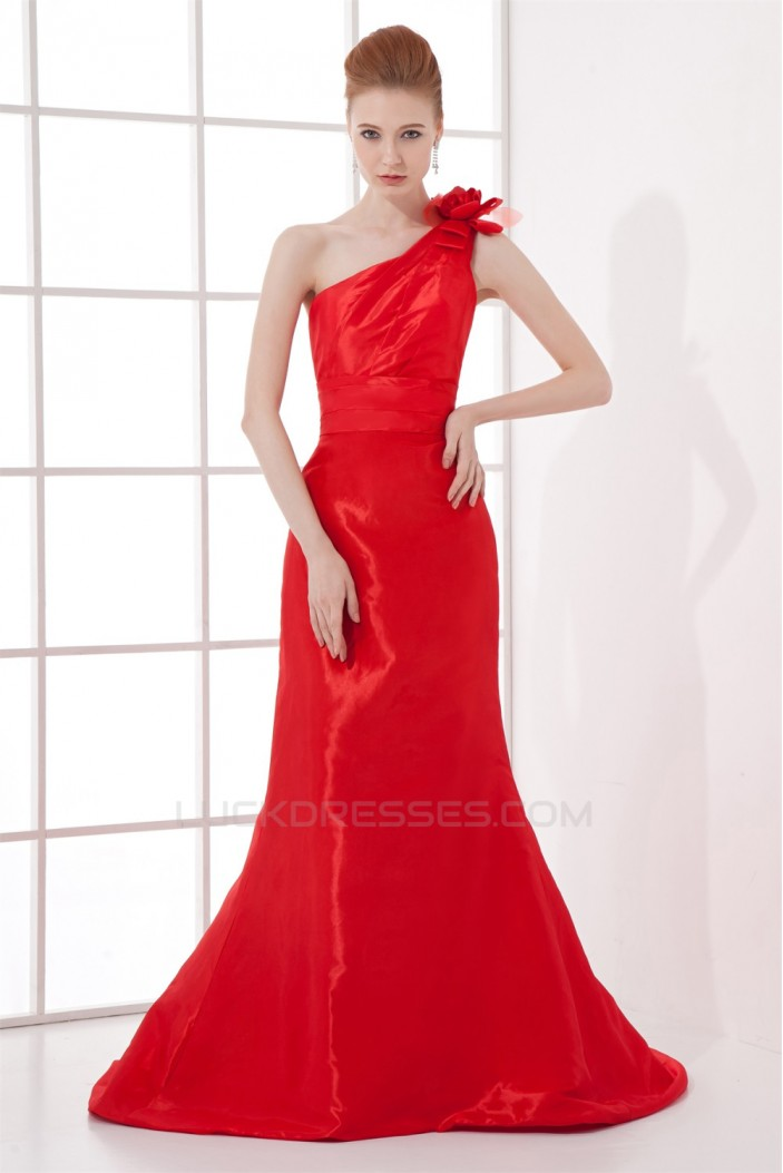 Handmade Flowers Taffeta Brush Sweep Train Prom/Formal Evening Dresses 02020772
