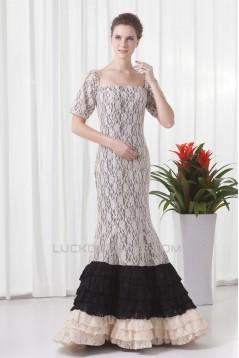 Mermaid/Trumpet Floor-Length Satin Lace Prom/Formal Evening Dresses 02020775